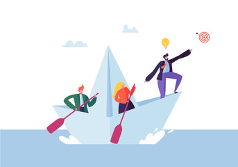 Business People Floating on a Paper Ship. Flat Characters with Spyglass Sailing on Boats. Team Work and Leadership Concept. Vector illustration
