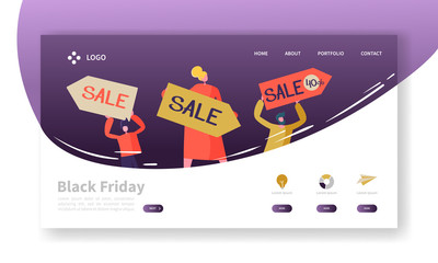 Black Friday Landing Page Template. Seasonal Discount Website Layout with Flat People Characters on Shopping. Easy to Edit and Customize Mobile Web Site. Vector illustration
