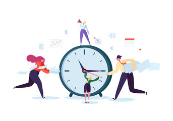 Time Management Concept. Flat Characters Organization Process. Business People Working Together Team Work. Vector illustration