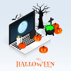 isometric halloween online sale vector
