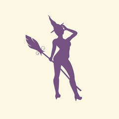 Illustration of standing young witch icon. Witch silhouette with a broomstick. Lady rise her hand to the head. Halloween relative image