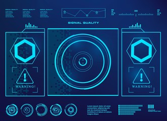HUD user interface, target. Futuristic blue virtual graphic touch user interface