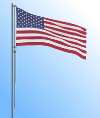Realistic US flag flying in the wind, vector