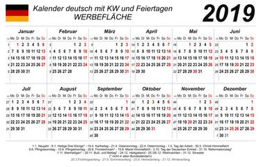 Kalender 2019 - neutral weiß - quer - deutsch - mit Feiertagen