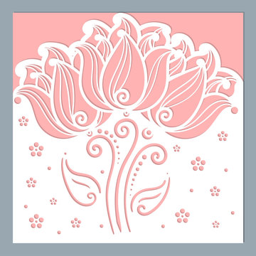 Wedding invitation envelope mockup for laser cutting with decorative tulips. Square. For your design