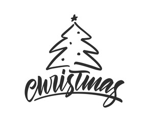 Vector hand drawn calligraphic brush type lettering composition of Christmas.