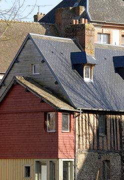 Ville de Rugles, typique maison en bois et colombages, département de l'Eure, Normandie, France
