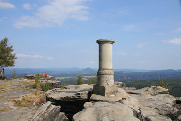 View from great Zschirnstein, the highest mountain of the Saxon Switzerland, Germany