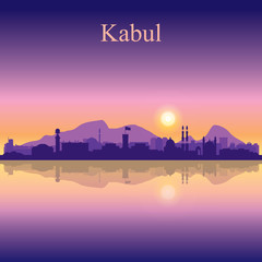 Kabul city silhouette on sunset background