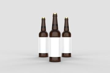Beer bottle mock up isolated on soft gray background. 3D illustration