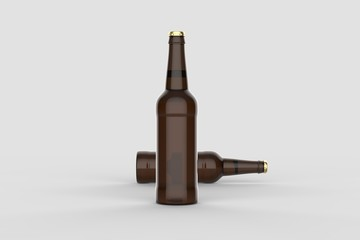 Beer bottle mock up isolated on soft gray background. 3D illustration