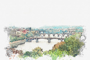 illustration of a beautiful view of Prague in the Czech Republic. Watercolor sketch