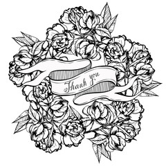 camellia,ribbon for your records,black and white, ink, pen capillary, handmade, leaves, flowers, buds,card for you,vintage banner ribbon isolated on white,vector illustration.