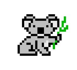 Pixel art koala bear character isolated on white background. Australian wildlife/zoo/national park animal icon. Cute 8 bit logo. Retro vintage 80s; 90s slot machine/video game graphics.