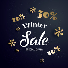 Winter sale  banner with text and snowflake, vector illustration.
