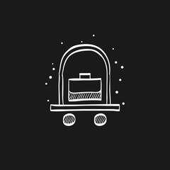 Sketch icon in black - Hotel trolley