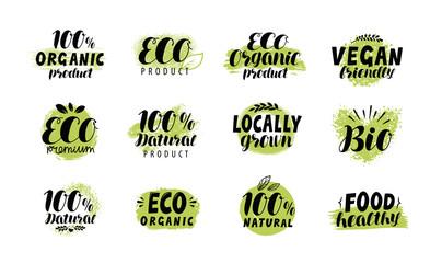 Eco, bio logo. Healthy food label set. Vector lettering