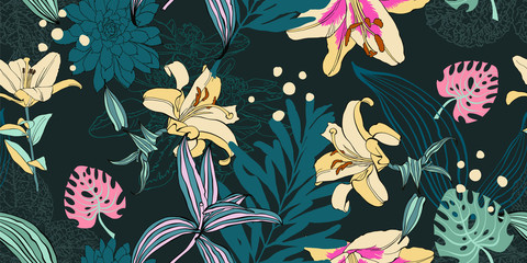 seamless artistic flower pattern, beautiful tropical floral exot