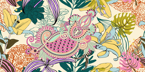 trendy seamless artistic flower pattern, beautiful tropical flor