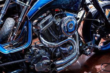 Engine close up shot of beautiful and custom made motorcycle