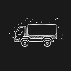 Sketch icon in black - Military truck