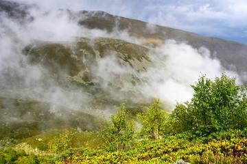 Россия, Кавказ, туманный осенний день в горах Архыза