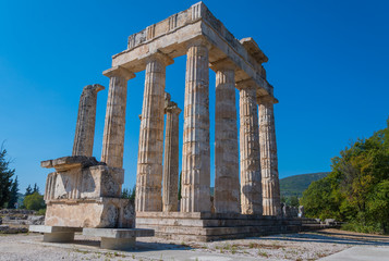Temple of Zeus at archaeological site of Nemea in Greece. It was built around 330 BC to serve the needs of the Nemian festival and games. It has three architectural styles, doric, ionic and corinthian