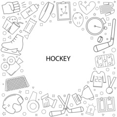 Hockey background from line icon. Linear vector pattern. Vector illustration