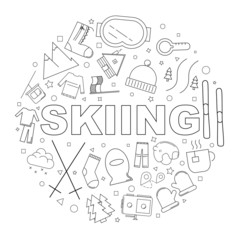 Skiing background from line icon. Linear vector pattern. Vector illustration