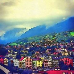 Oil painting. Art print for wall decor. Acrylic artwork. Big size poster. Watercolor drawing. Modern style fine art. Beautiful summer mountain landscape. Rain clouds. Green valley.