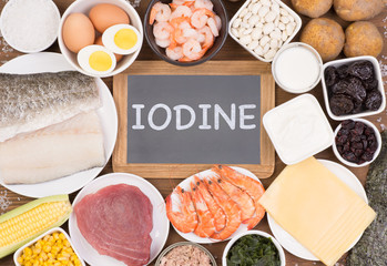 Fototapeta Food rich in iodine. Various natural sources of vitamins and micronutrients obraz