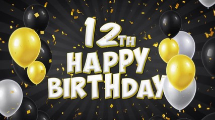 12th Happy Birthday Black Text With Golden Confetti Falling And Glitter Particles Colorful