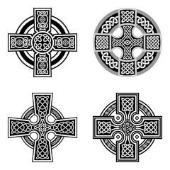 Set of decorative Celtic crosses