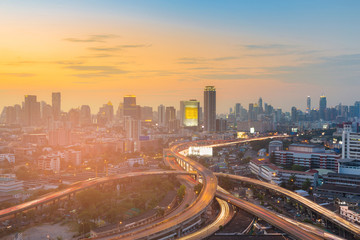 Bangkok city business downtown with sunset skyline, cityscape background