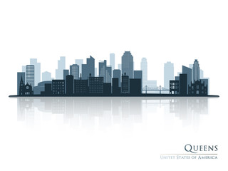 Queens, New York blue skyline silhouette with reflection. Vector illustration.