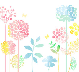 Flowers in watercolor style