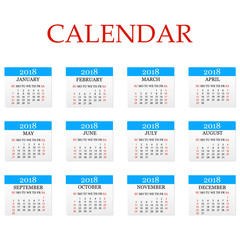 Calendar 2018. Simple Calendar template for year 2018. White background. Vector illustration