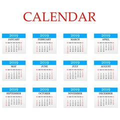 Calendar 2019. Simple Calendar template for year 2018. White background. Vector illustration
