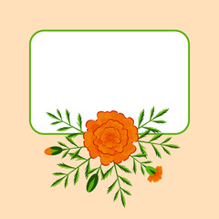 Day of the Dead. Concept of the national Mexican holiday. Place for text. Marigolds - flowers, leaves, buds