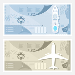 Airport and Seaport Banner, Cruise Ship at Sea, Plane on the Runway, Tourism and Travel Infographic Concept, Vector Illustration