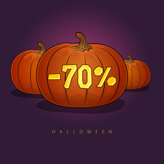 Halloween Sale, Poster of Pumpkins with a 70 Percent Discount , Holiday Discounts, Vector Illustration