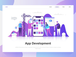 App development modern flat design concept. Landing page template. Modern flat vector illustration concepts for web page, website and mobile website. Easy to edit and customize.