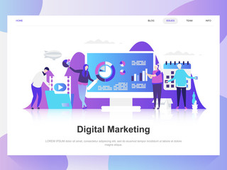 Digital marketing modern flat design concept. Landing page template. Modern flat vector illustration concepts for web page, website and mobile website. Easy to edit and customize.