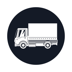 Small Covered Truck Icon , Transport Services and Logistics, Shipping and Freight of Goods, Vector Illustration