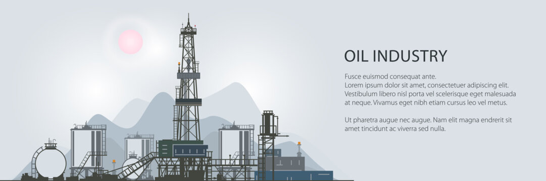 Oilfield Banner, Drilling Oil or Natural Gas Rig with Outbuildings and Tanks and Cisterns, Poster Brochure Flyer Design, Vector Illustration