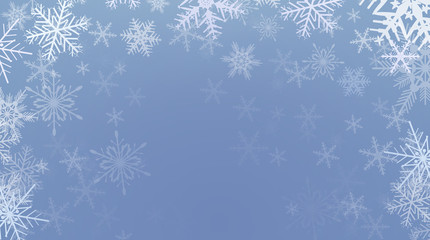 Winter christmas background, frozen with snowflakes,