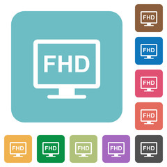 Full HD display rounded square flat icons