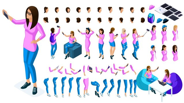Big isometric Set of gestures of hands and feet of a girl 3D teenager, generation Z, a student doing selfi for social networks. Create your character for vector