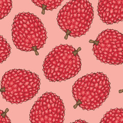 Seamless Pattern with Red Lychee