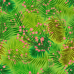 Foto op Canvas Tropische Bladeren cool vibrant overlapping pattern tile with forest leaves and blossoms. botanical seamless pattern tile for textile, fabric, backgrounds, decor, wallpapers, backdrops and creative surface designs